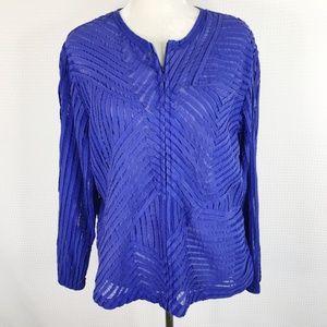 Chicos Jacket Blue Boxy Long Sleeve Zip Size 3 XL